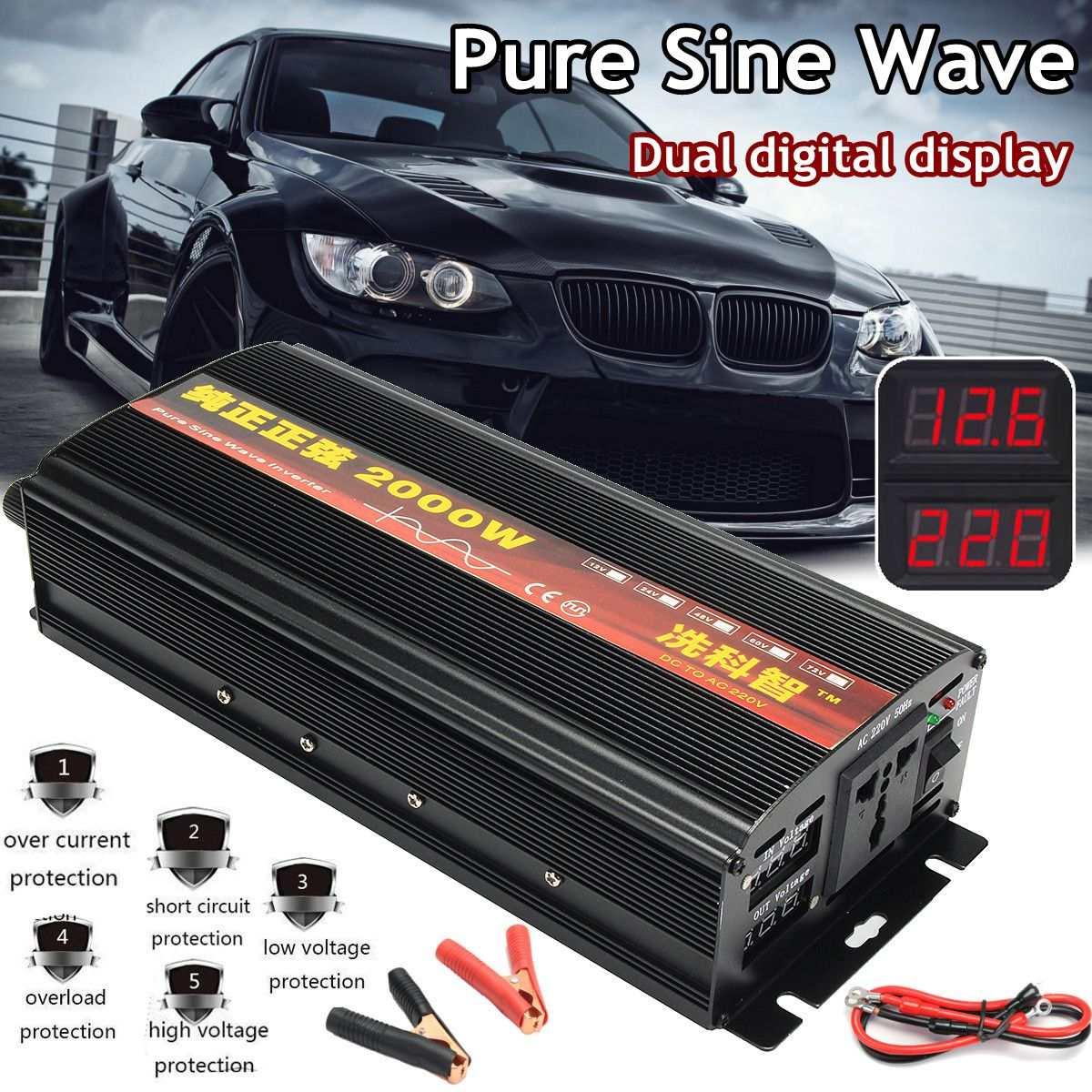 Inverter 12V 220V 2000/3000/4000W Voltage transformer Pure Sine Wave Power Inverter DC12V to AC 220V Converter + 2 LED Display