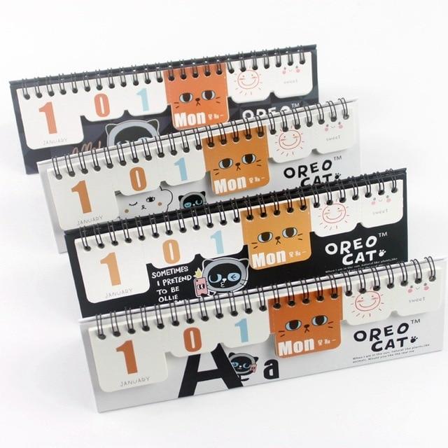 Nouveau mignon chat papier calendrier de bureau petit calendrier