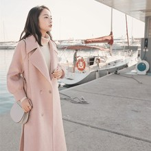 2018 Winter Womens Pink Color Woolen Coat New Section Lanterns Sleeve Long Sweet Thick