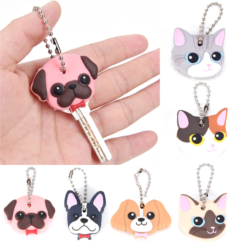 Silicone Key Ring Cap Case Lovely Animals Head Shape Keychain Shell Cat Hamster Pug Dog  Desk Sets School Stationery