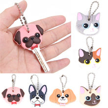 Silicone Key Ring Cap Case Lovely Animals Head Shape Keychain Shell Cat Hamster Pug Dog Desk Sets School Stationery(China)