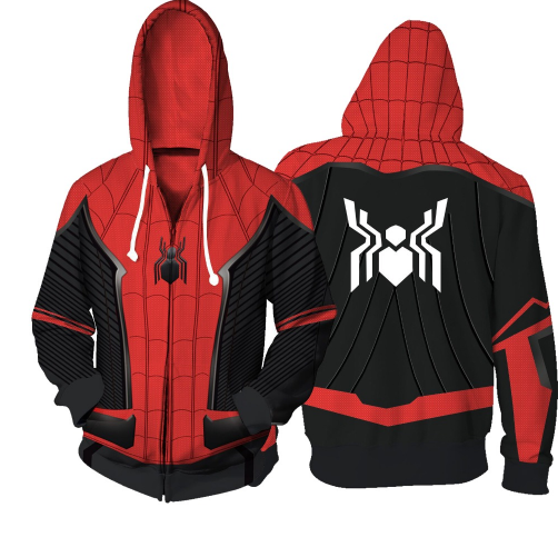 Spider-Man: Far From Home Cosplay Hoodie Spider 3D Print Zipper Sweatshirts Hooded Fashion Top Men and Women Streetwear Jacket