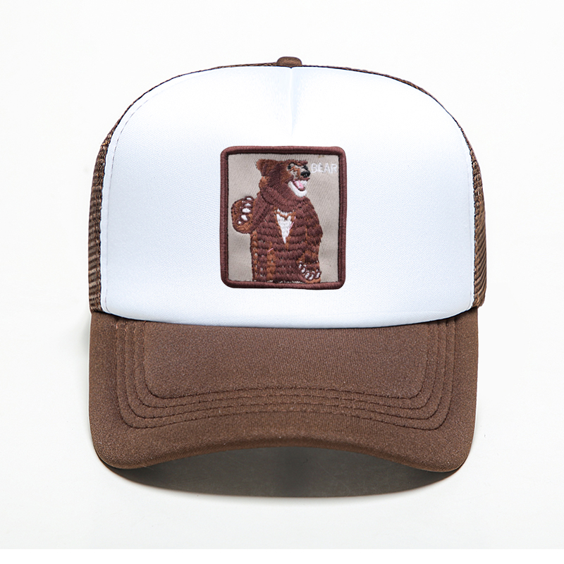 Fashion Mesh Printing Baseball Caps Animal Bear Pattern Snapback Dad Hat Summer Adjustable Bone Caps Breathable Mesh Trucker Hat in Men 39 s Baseball Caps from Apparel Accessories