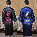 Frete Grátis! Reversível Dupla-Face dos homens Chineses de Cetim De Seda Borde Dragão Robe Vestido Com Cinto Tamanho Livre MR005
