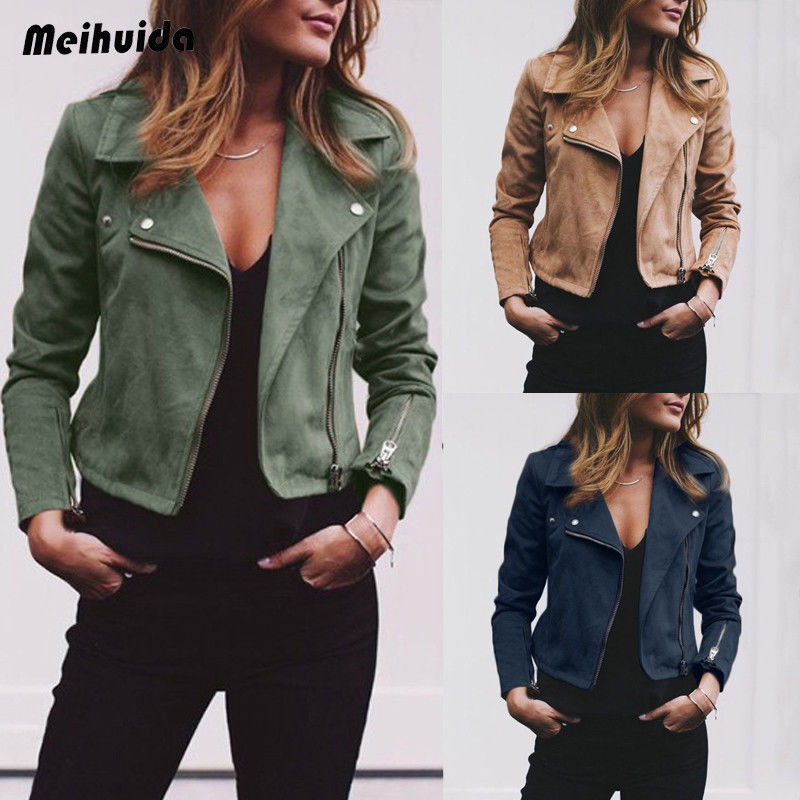 Women Jacket Solid Color Zip Up Turn-  down   Collar Long Sleeve Top Ladies Casual   Coat   Femme Outwear Party Clubwear 3Color