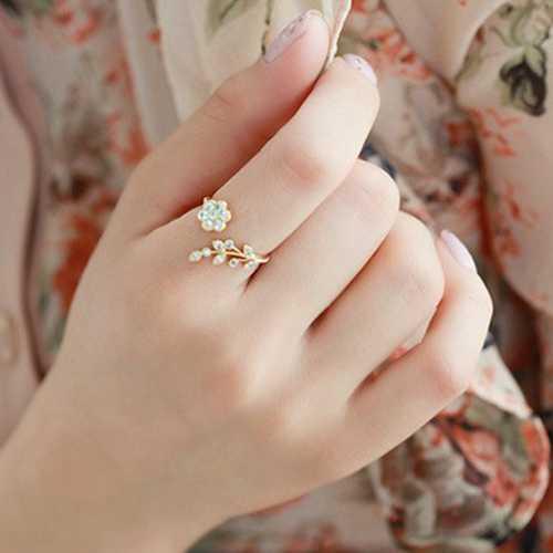Горячая Распродажа, модные золотые, серебряные, цветные, красивые, цветочные, листья, ветви, спроектированные, регулируемые кольца на палец для женщин, свадебные ювелирные изделия