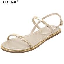 2016 Summer Women Flat Sandals Plus Size 34-43 Open Toe Soft Leather Glitter Women Sandals Brand Designer Flat Shoes XWF0433-5
