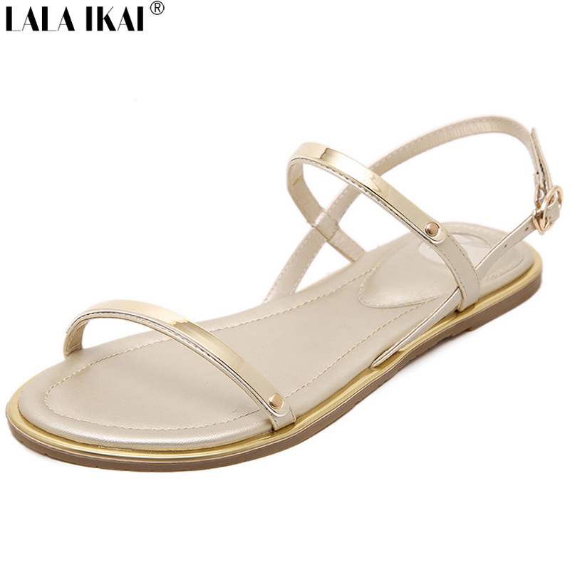 LALA IKAI Summer Flat Sandals Open Toe Leather Women