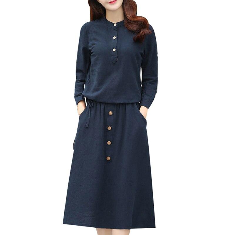 Femmes décontracté solide O cou à manches longues d'été Blouse Top t-shirt et genou longueur jupe 2 ensembles