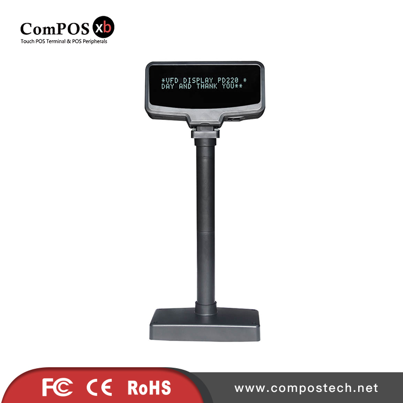 The screen is clear and the quality of the external, connection of the POS machine is remarkable VFD8000