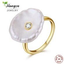 Hongye кольцо с натуральным пресноводным жемчугом 925 пробы серебряные ювелирные изделия из барочного жемчуга золотые кольца модные дизайнерские для Для женщин свадебные туфли