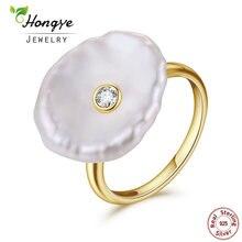 291739c2e3a0 Hongye de perlas naturales de agua dulce anillo de la joyería de la plata  esterlina 925 barroco anillos de oro perla de diseñado.