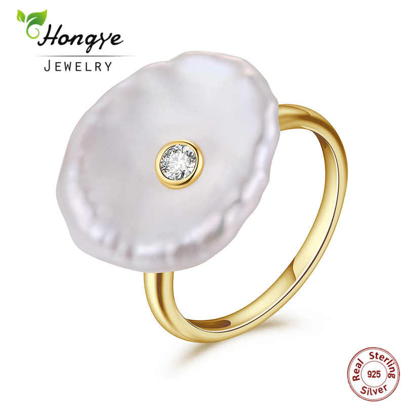 Hongye ไข่มุกน้ำจืดธรรมชาติแหวนเงินแท้ 925 เครื่องประดับไข่มุกทองแหวนแฟชั่นสำหรับงานแต่งงาน