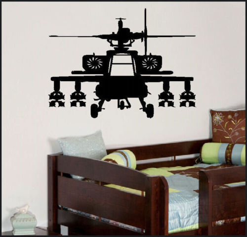 D317 LARGE ARMY APACHE HELECOPTER CHILDRENS BEDROOM WALL MURAL GRAPHIC STICKER VINYL