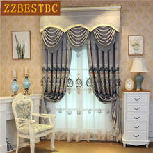 European high quality villa embroidered curtains for living room Elegant  Window Curtain Bedroom Kitchen hotel Custom Drapes