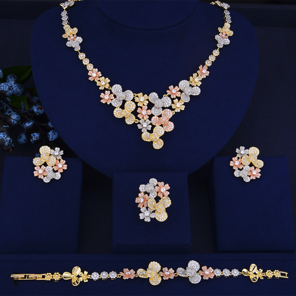 GODKI Luxury Flower Cluster African Necklace Earring Set Jewelry Set For Women Wedding Zircon CZ Dubai Silver Bridal jewelry SetGODKI Luxury Flower Cluster African Necklace Earring Set Jewelry Set For Women Wedding Zircon CZ Dubai Silver Bridal jewelry Set