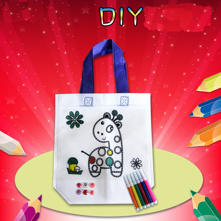 Child Toy DIY Painted Portable Canvas Bag Kindergarten Toy Material Package Children Toy Toys Girl Crafts Kids Craft Kits