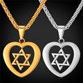 Jóias judaica Magen Estrela De David Colar de Pingente de Coração Para As Mulheres banhado a Ouro de Aço Inoxidável Colar de Israel GP2257