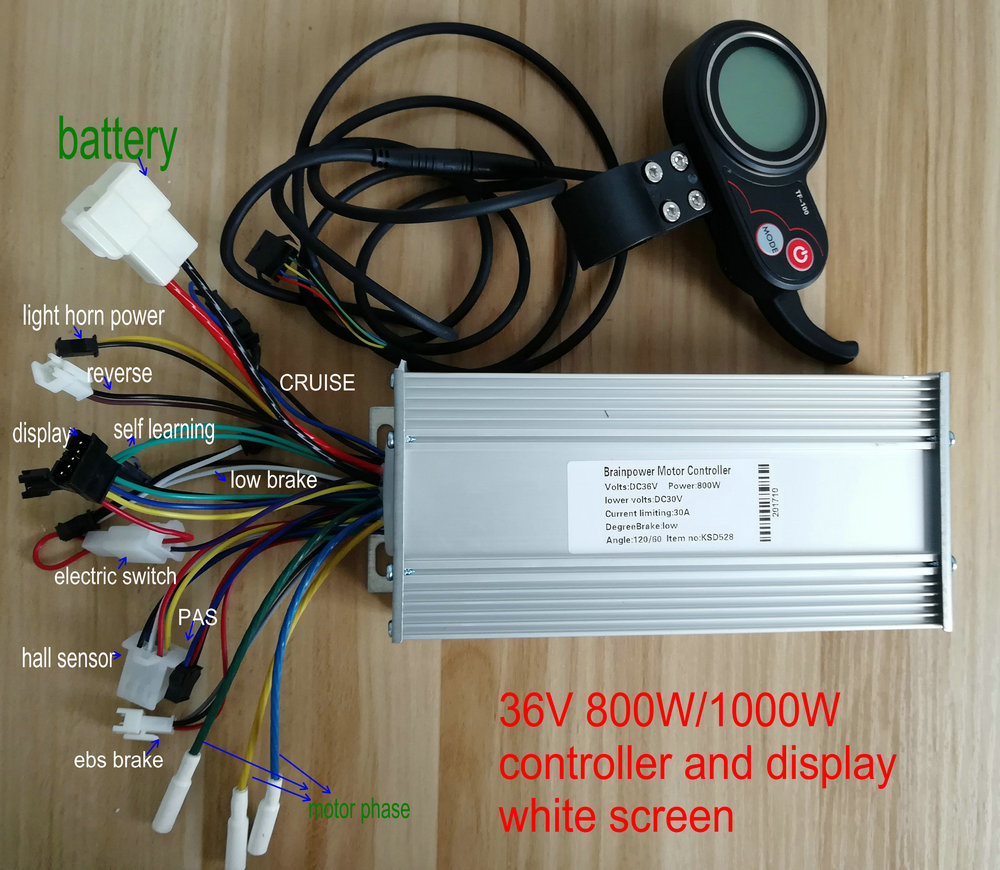 400W-1200W BLDC 24V36V48V60V Controller&LCD Display With Throttle Shifter White/colored Screen Electric Scooter MTB Ebike Parts