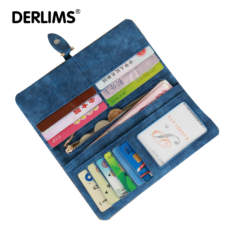 Derlims Для женщин крепежа клатч кошелек Винтаж матовая Для женщин кошелек моды небольшой женский кошелек для монет карты Сумки