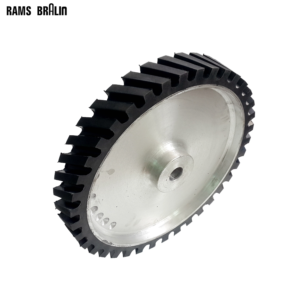 350*50mm Belt Sander Rubber Wheel Grooved Surface Belt Grinder Contact Wheel Dynamically Balanced 300 50mm flat belt grinder contact wheel dynamically balanced rubber polishing wheel abrasive sanding belt set