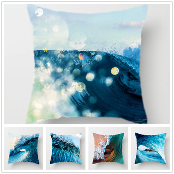 Summer Wave Cushion Cover Blue Pillowcase Soft Polyester Decorative Pillow Covers for Sofa Bed Living Room Home Decor 45*45cm 2019 newest plaid pillow case 45 45cm cotton and linen pillow cover elastic cushion cover for living room bedroom office decor