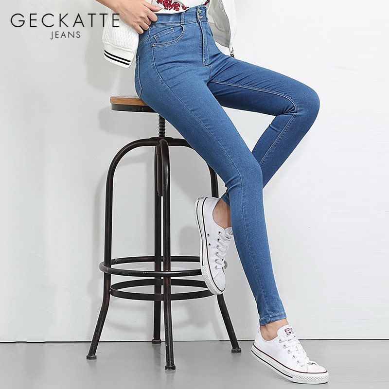 GECKATTE Black Plus Size High Waisted Jeans Woman Skinny Elastic Boyfriend Mom Jeans Denim Stretch Pencil Pants For Women Fall