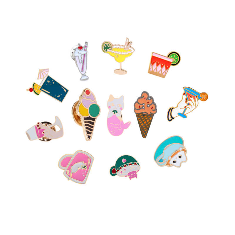 Zomer Ijs Sap Broche voor Vrouwen Cartoon Emaille Pin Strand Hoed Denim Jassen Revers Badges Pins Sieraden Shirts Decoraties