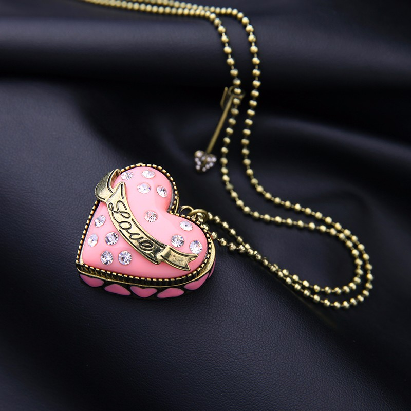 Sweet New Fashion Elegant Jewelry Pink Opened Heart Necklace Pendant Antique Gold Color Vintage Necklace Gift Karachi