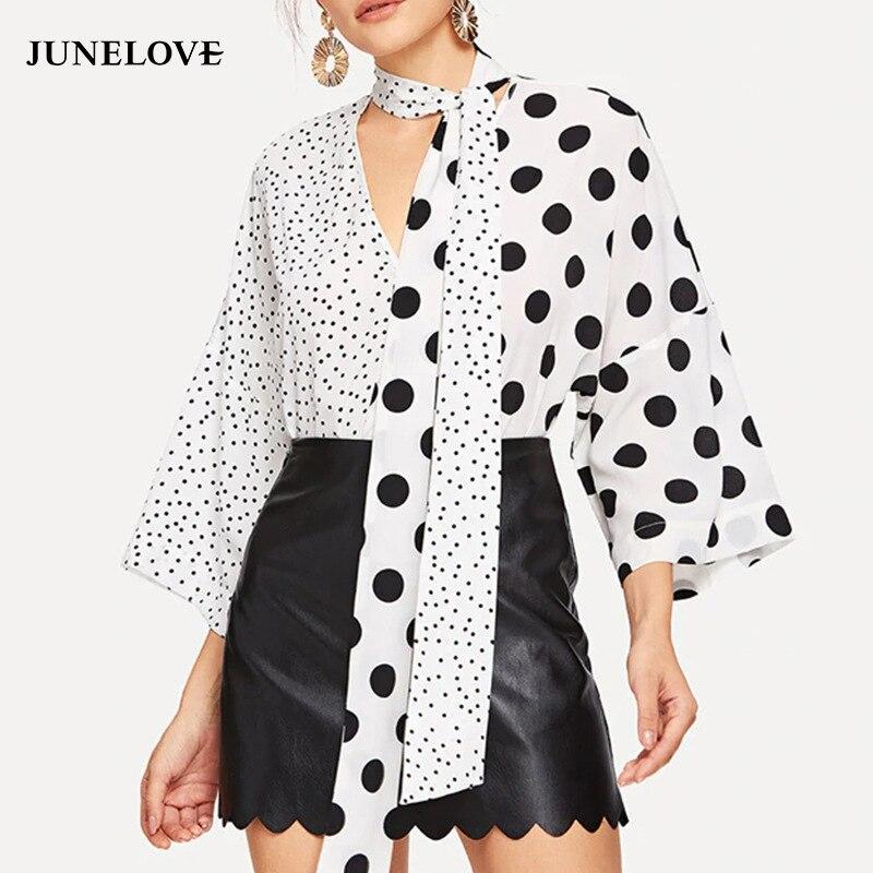 Junelove primavera feminina nova moda com decote em v polka dot blusa casual assimétrico emendamento camisas vintage retalhos senhora topos