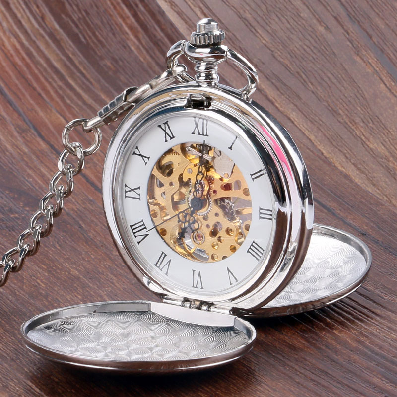 Simple Design double full hunter Mechanical Pocket Watch for Women Men Steampunk Watches with Chain P850C chic simple design branch pattern body chain for women