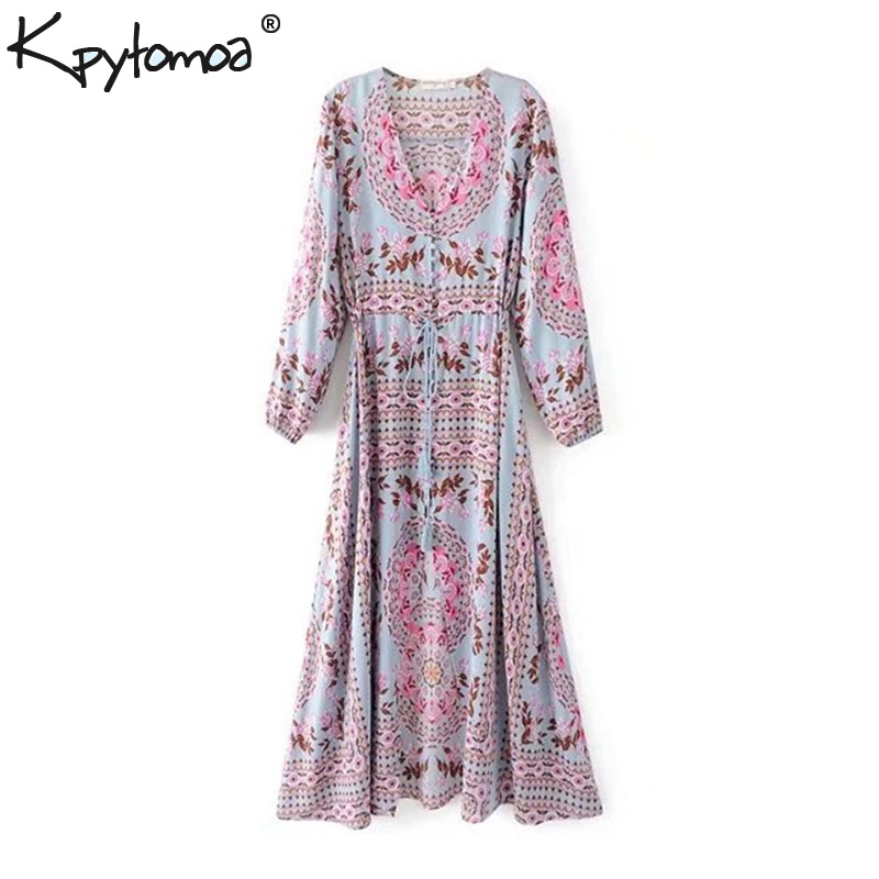 Boho Chic Sommer Vintage Floral Druck Quaste Maxi Kleid Frauen 2019 Mode V-ausschnitt Strand Gefaltete Lange Kleider Femme Vestidos robe