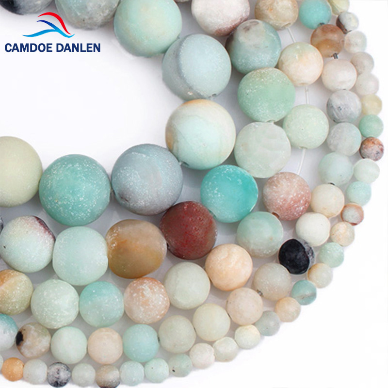 CAMDOE DANLEN Natural Stone Matte Frost Amazonite Round Beads 4 6 8 10 12MM Fit Diy Charms Beads For Jewelry Making Accessories