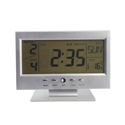 Newly LED Voice Control Alarm Desk Clock Weather Monitor Calendar with Thermometer Electronic Digital Back-light Clocks 8 99 M