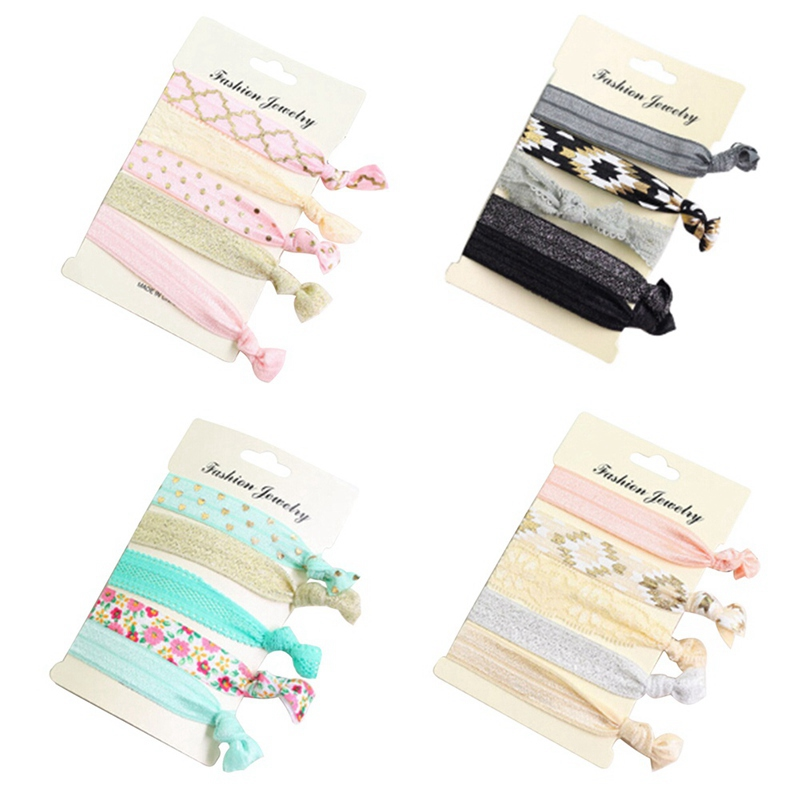 1 set Fashion Korean style Female New Women printed lace flat stars hair ties Elastic Hair Bands Accessories