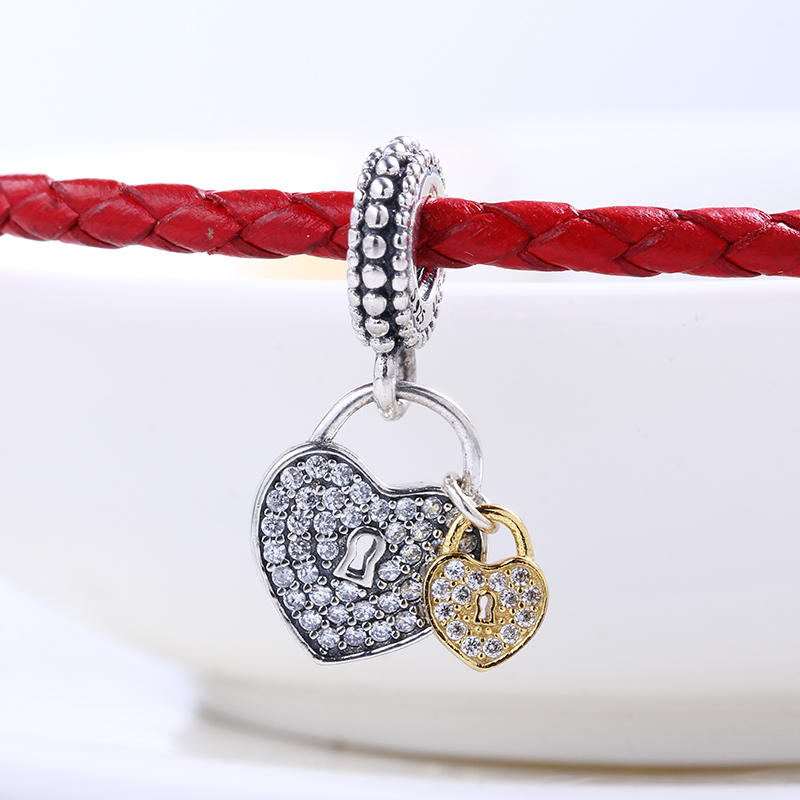 High Quality Heart Lock Dangle charms silver S925 Logo Fit Pandora Bracelet 925 original Beads for jewelry Making Gift