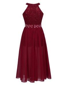 Image 3 - IEFiEL vestido de princesa de tul para niña, bordado de lentejuelas, encaje Floral, flor de Gasa, boda, fiesta de cumpleaños, vestido Formal, 2020
