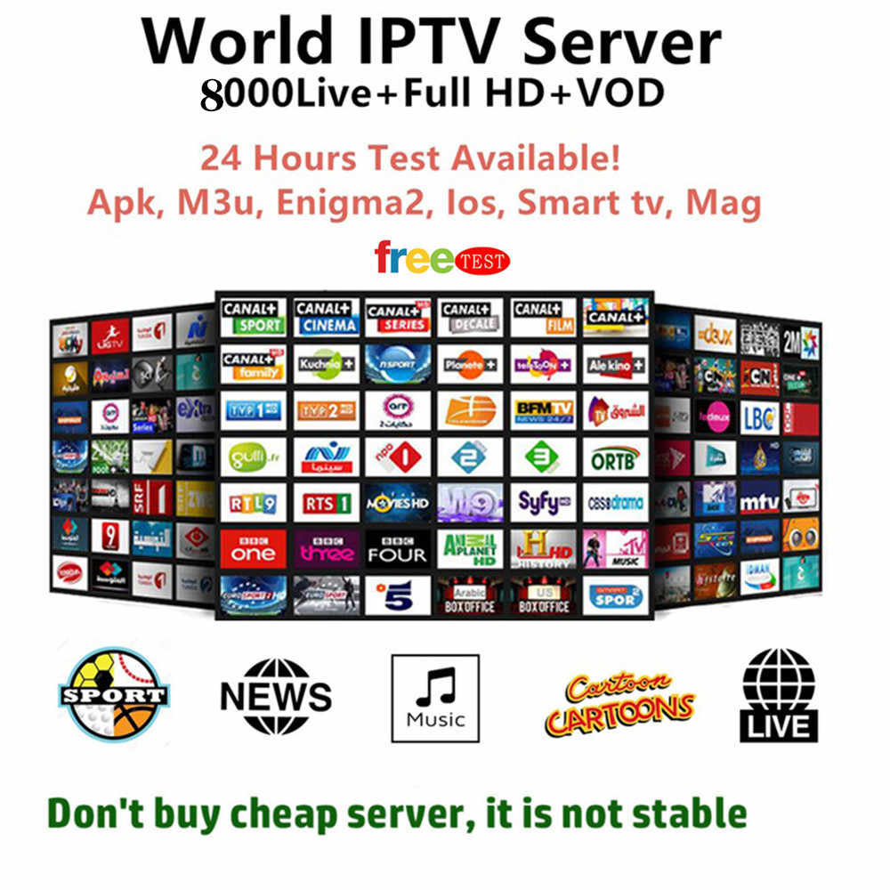 8000 Live Europe IPTV Subscription France UK German Arabic Dutch French Poland Portugal Smart TV IPTV M3U For Android