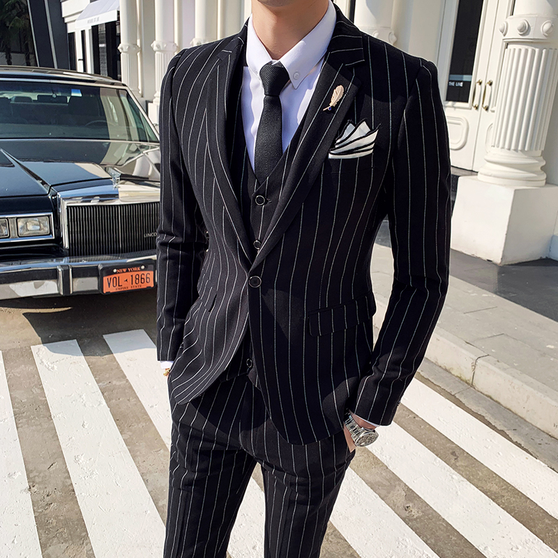 Suits men 39 s striped suit three piece suit coat trousers vest groom wedding dress men 39 s single button business casual suit in Suits from Men 39 s Clothing