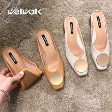 купить High Heel Mules Shoes Ladies Slippers High Shoes Summer Dress Slides Female Square Toe Shoes Fashion Buckle Heels Female по цене 1625.52 рублей