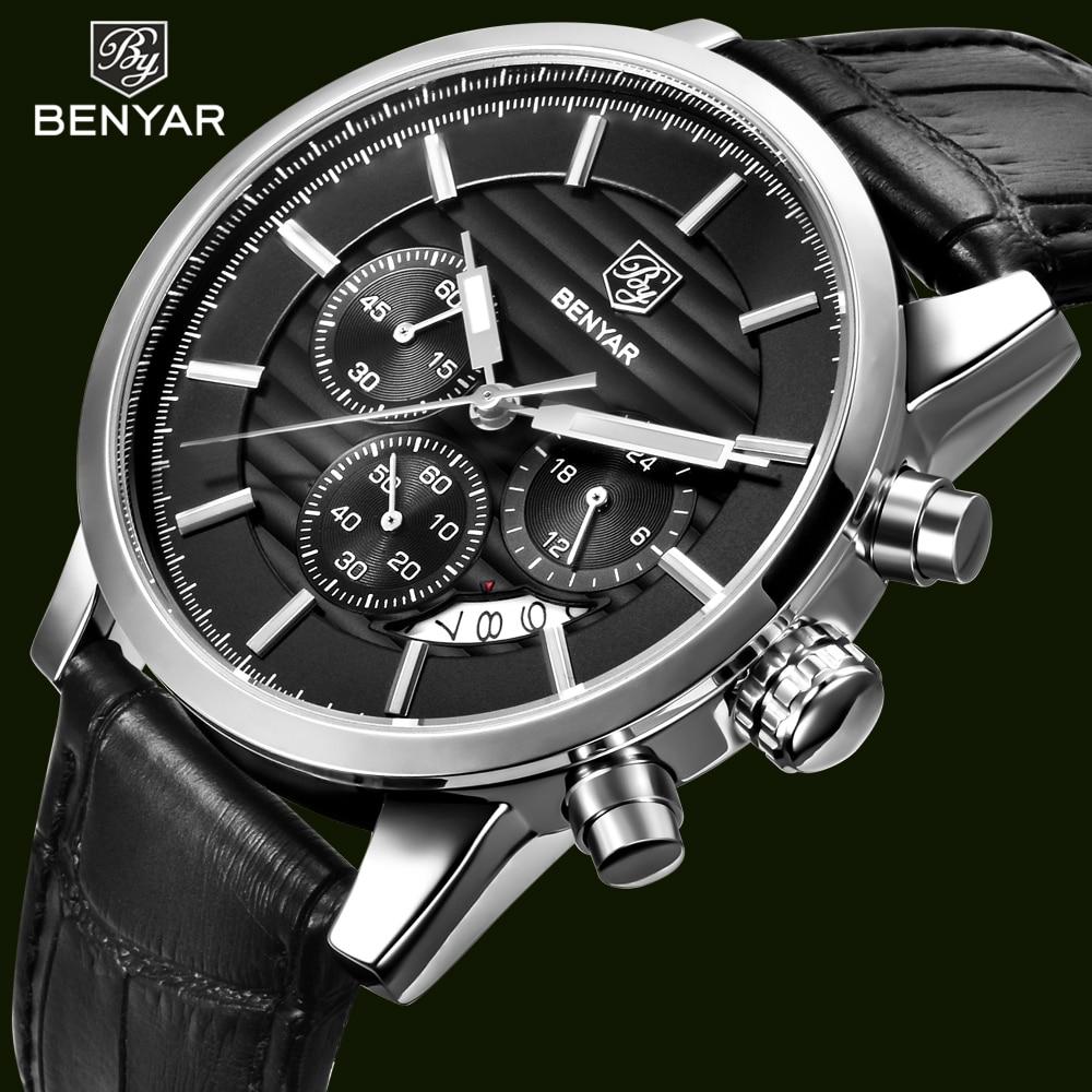 24 Hours Leather Men's Chronograph Sport Quartz-Waterproof Wrist Watches Male Clock