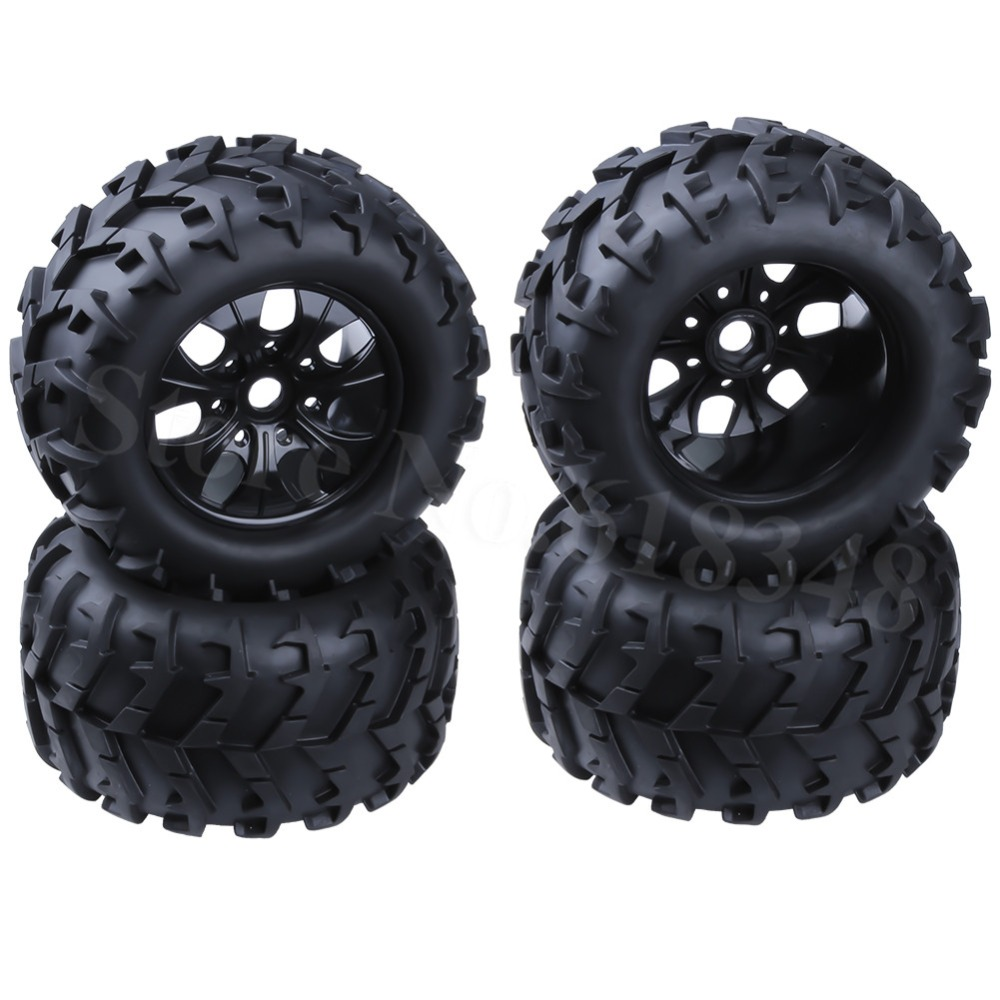 4Pcs 3.2 inch RC 1/8 Monster Truck Wheels & Tires Rubber 17mm Hex For HPI Redcat Himoto Exceed Traxxas AXIAL HSP Baja Off Road 4pcs lot 2 2 rubber tires tyre plastic wheel rim 12mm hex for redcat exceed hpi hsp rc 1 10th off road monster truck bigfoot