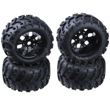 4Pcs 3.2 inch RC 1/8 Monster Truck Wheels & Tires Rubber 17mm Hex For HPI Redcat Himoto Exceed Traxxas AXIAL HSP Baja Off Road
