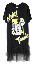 JST014 lady Sequins letters Mickey slim stitching polo shirt dresses large size loose vest 1color