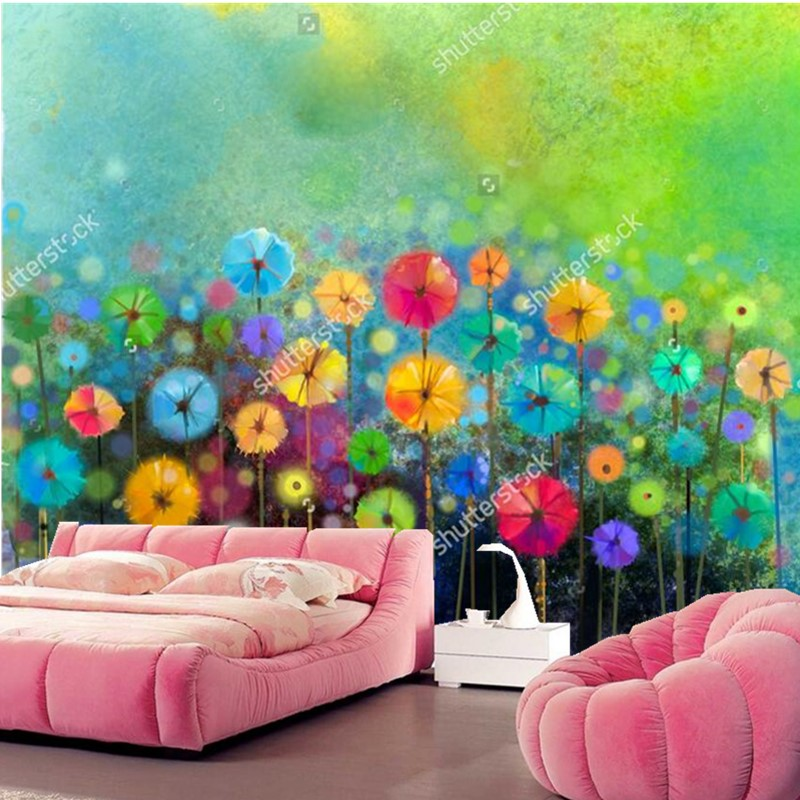 Custom wallpaper for walls 3d abstract floral watercolor for Abstract mural wallpaper