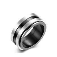 Punk Style Stainless Steel Wedding Rings for Men Ring with IP Black Plated Suitable for Parties Fashion Design Men Accessories