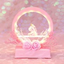 INS unicorn dried flowers music box cute