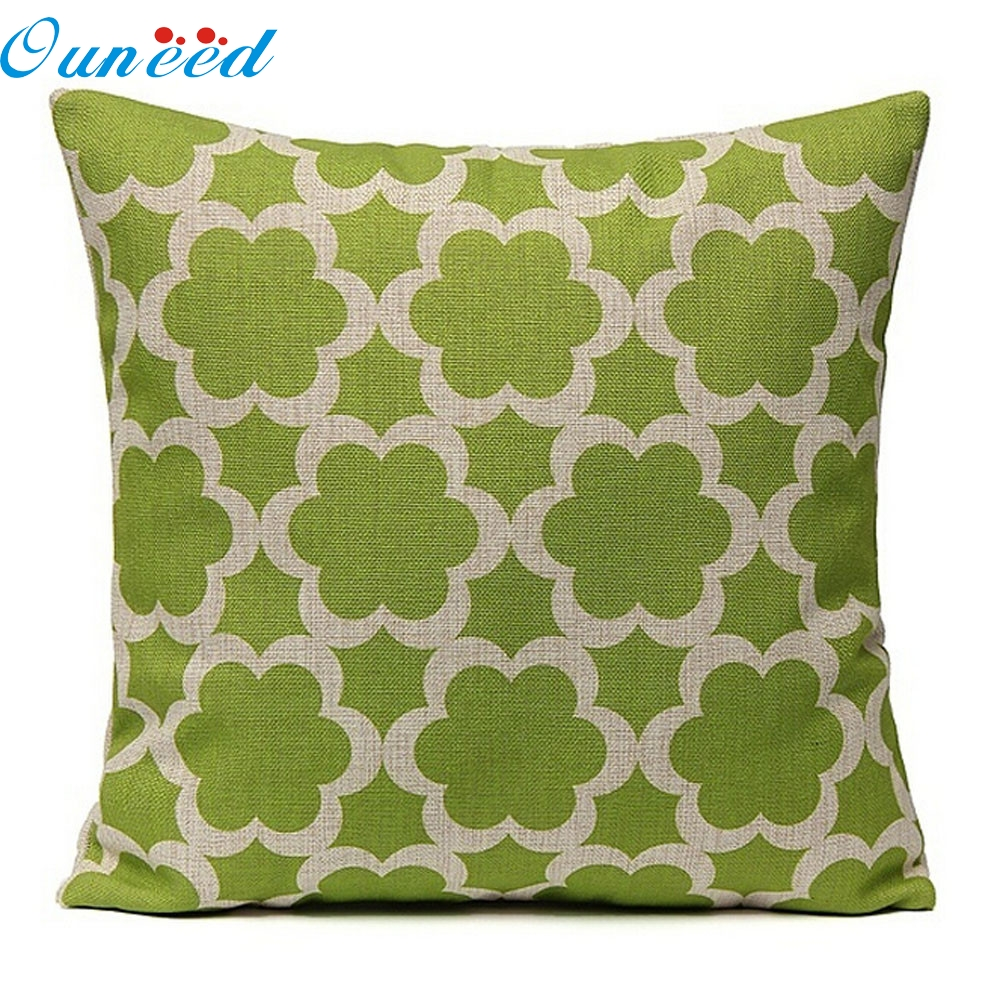 Green Home Decor Linen Printed Waist Throw Square Pillow Case Sofa Car Cushion jan13