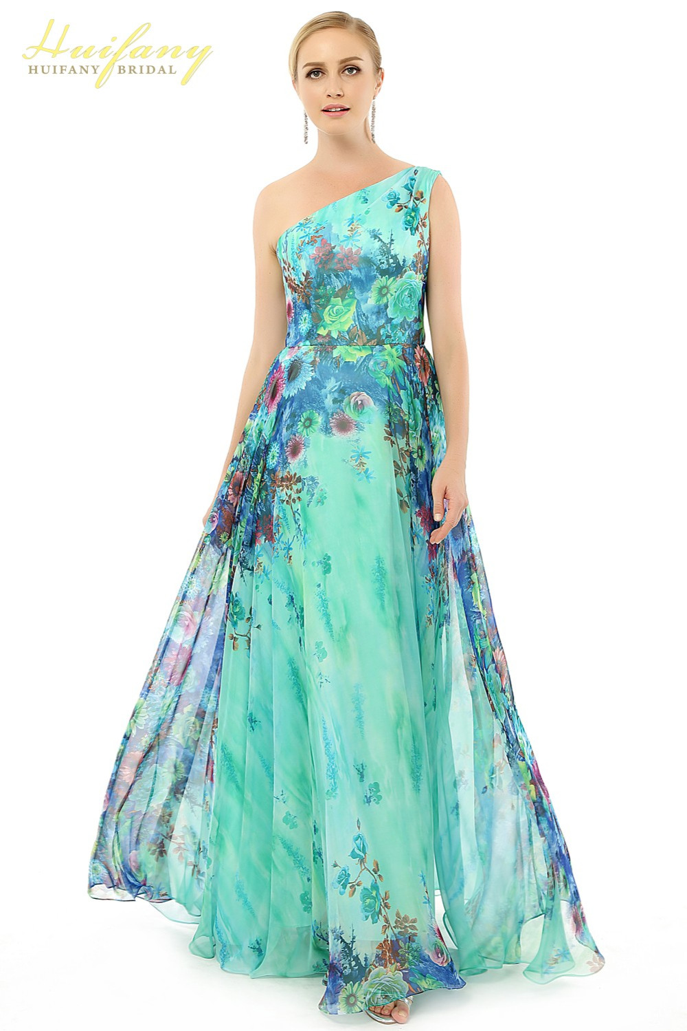 huifany flower pattern floral print chiffon evening dress