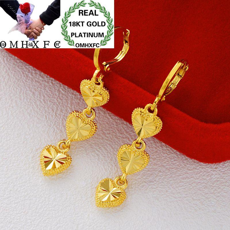 OMHXFC Drop-Earrings Flower Wedding-Gift Gold Fashion Woman Heart Girl Star 18K ER151